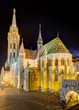 Matthias Church at night, Budapest, Hungary