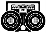 cassette recorder on white background