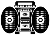 double cassette recorder on white background