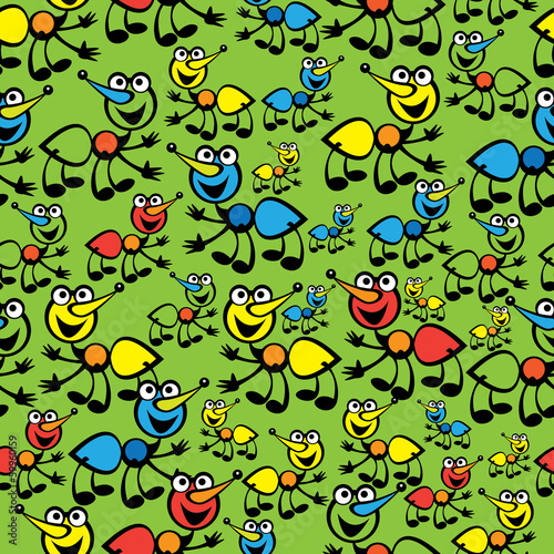 cute colorful ants seamless pattern