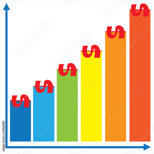 revenue growth graph isolated on white background