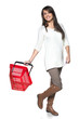 Young woman with red shopping basket