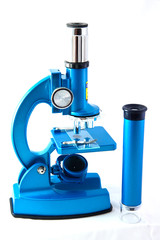 microscope on a white background
