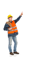Construction worker holding rope and pointing up.