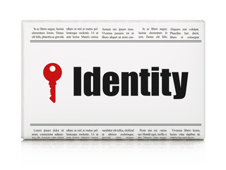 Safety concept: newspaper with Identity and Key