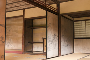 Japanese interior house walls decorated by Tanyu Kano