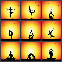 Yoga poses, sunset silhouettes