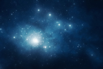 Deep blue night sky filled with stars and space dust