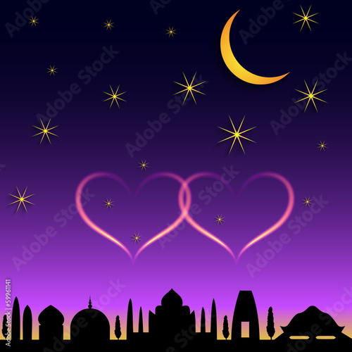 Vector oriental town night scene