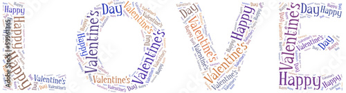 Tag or word cloud Valentine's Day related in shape of LOVE word
