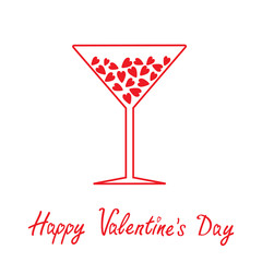 Martini glass with hearts inside. Happy Valentines Day card.
