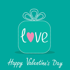 Gift box with word love. Dash line. Flat design. Happy Valentine