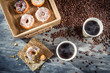 Coffee with donuts  for two