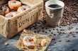 Fresh donuts to take away with coffee