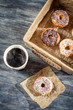 Hot coffee and fresh donuts