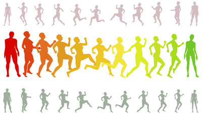 modify the shape running losing weight woman silhouettes