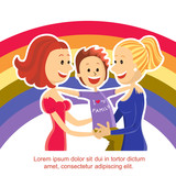 Young  lesbian couple family with son on rainbow symbol