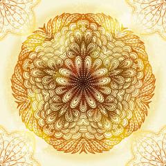 Hand drawn ethnic circular beige ornament. Eps10
