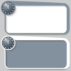 set of two vector text box and clock