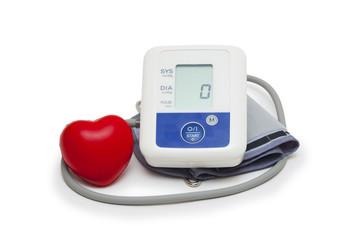 Digital blood pressure meter  on white background