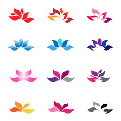 Lotus zen flower icons logo collection