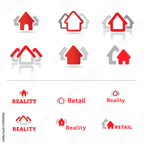 House icon collection. Retail Reality Real estate logos.
