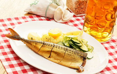 mackerel with potatoes and beer