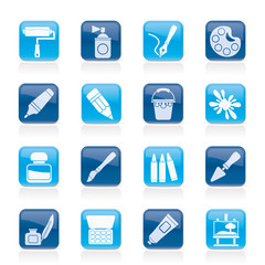 Painting and art object icons - vector icon set