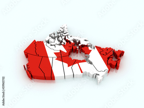 3d map of Canada with flag and provinces