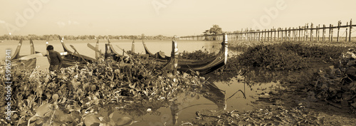 U Bein Bridge, Myanmar, in sepia.