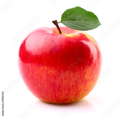 canvas print picture Ripe apple with leaf