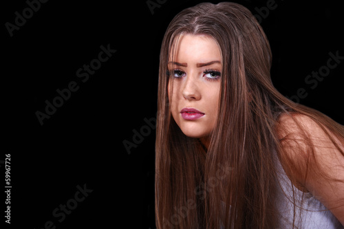 Peering girl, with copy space