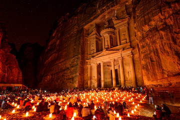 Al Khazneh on January 1, 2014 in Petra, Jordan
