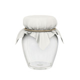 Glass jar and  square cloth shape tied with a golden rope