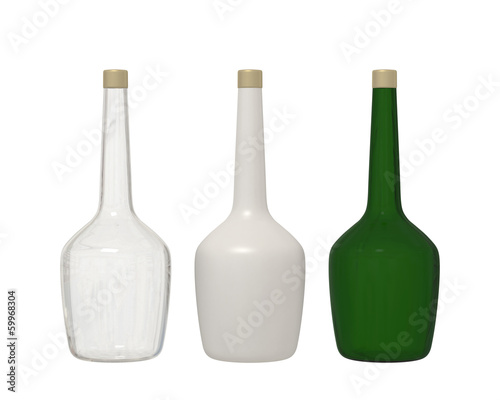 Set of 3 bottle glass isolated on white background with clipping