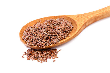 Flax seeds, linseeds on a wooden spoon