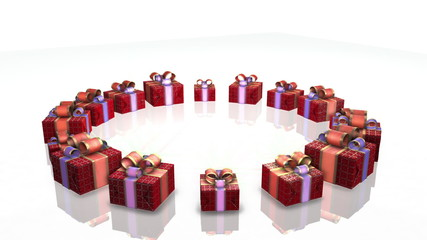Red gifts on white background,holiday animation