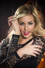 Portrait young blonde sensual woman