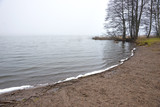small beach in late foggyautumn