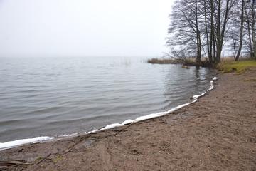 small beach in late foggyautumn