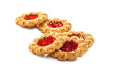 traditional jam cookies on white background