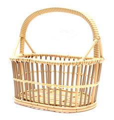 basket rattan close-up isolated white background