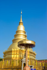 Golden Pagoda in Phra That Hariphunchai Temple, Lamphun Province