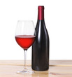 Red wine bottle, one glass