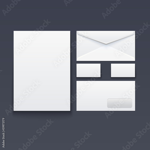 Blank envelope, business card and paper