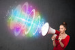 Young girl yells into a loudspeaker and colorful energy beam com