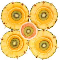 Sliced Fruits isolated. Kiwi, Pineapple, Orange, Grapefruit