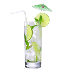 Mojito. Cocktail with straw and umbrella on the top, isolation