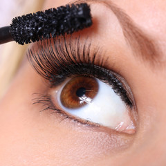 eye and mascara brush. beautiful woman brown eye