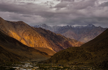 Incredible scenic view of high mountain path in Ladakh range, Le